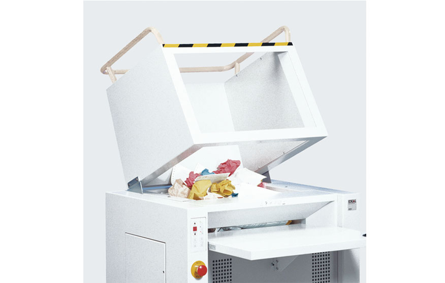 Detail of Destroyit model 4605 high-capacity shredder, available in Lubbock from Advanced Business Solutions.
