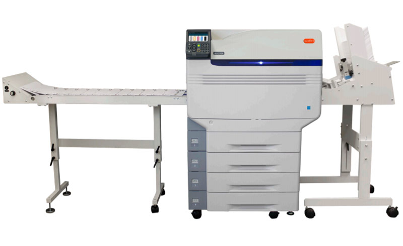Quadient HD-CX-1750 Color Printer with document handlers added.