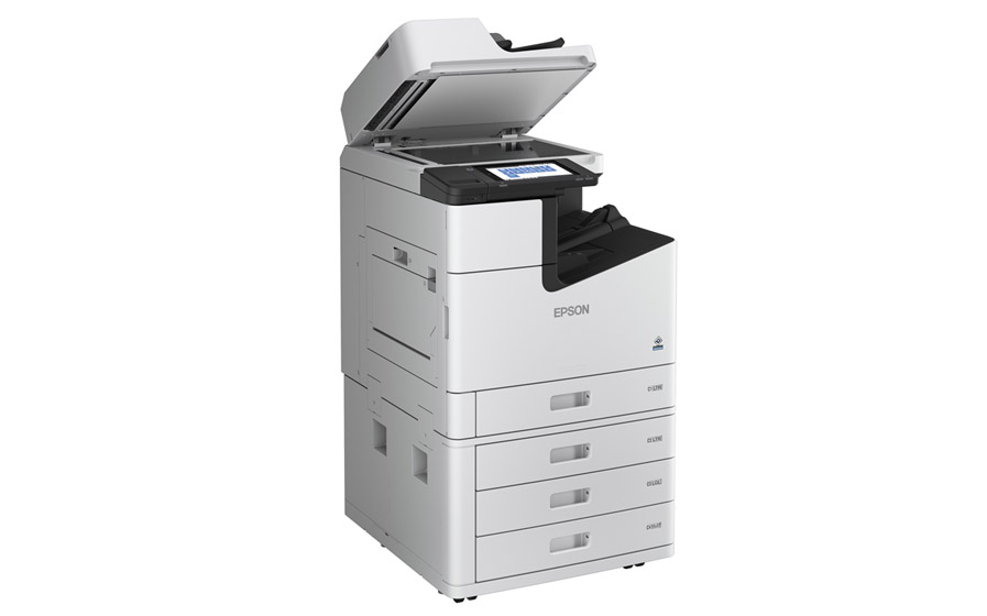 WorkForce Enterprise WF-C21000 Color Multifunction Printer with top lid-tray open.